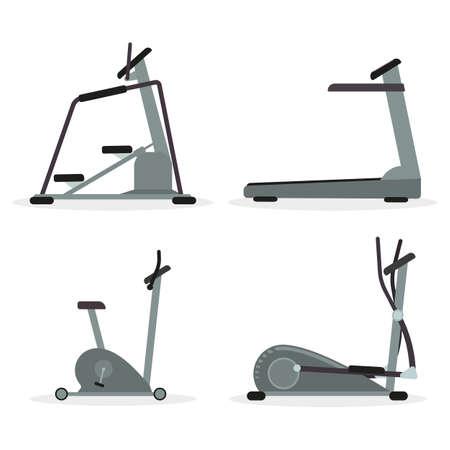 stepper: Set of cardio machines - treadmill, elliptical trainer, stepper, exercise bike. Vector. Illustration