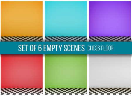 checkerboard: Grey empty scene with checkerboard floor. Vector.