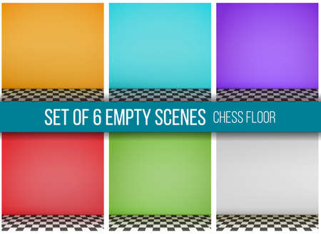 Grey empty scene with checkerboard floor. Vector.