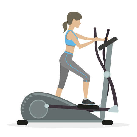 Fitness girl with elliptical cross trainer, cardio machine. Vector.