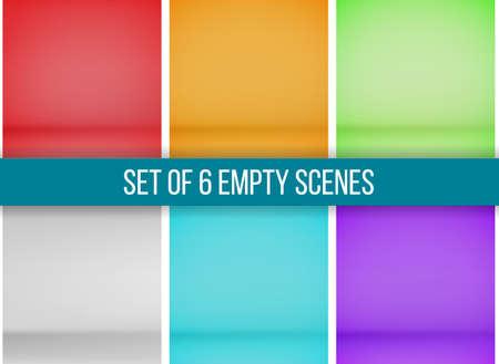 Set of 6 empty scenes, mock up. 向量圖像