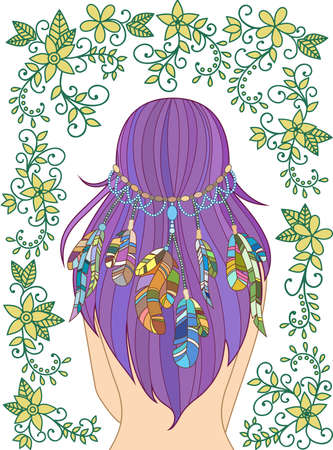 hair feathers: Girl with feathers in her hair and floral pattern, hippie style, line art. Vecror.