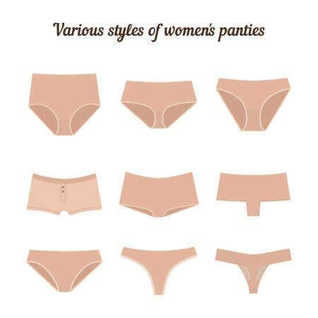 tanga: Various styles of women panties isolated on white background. Illustration