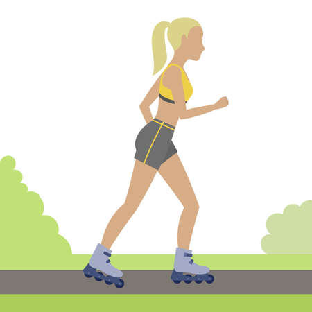 rollerblading: Woman rollerblading outdoor. Girl on roller skates in the city park. Vector. Illustration
