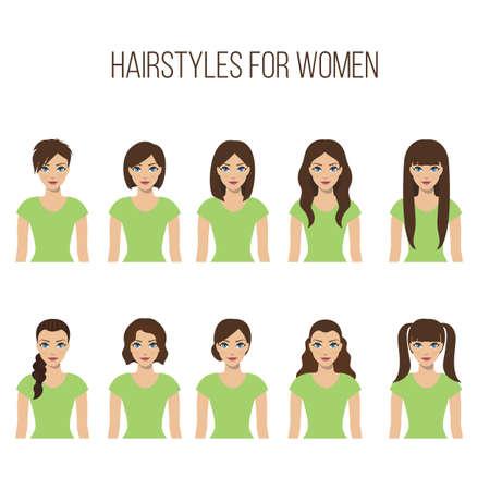 白い背景の上の女性のためのヘアスタイルのセットです。ベクトル。
