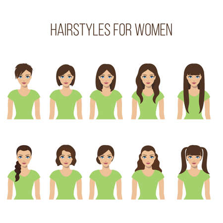 long straight hair: Set of hairstyles for women on a white background. Vector.