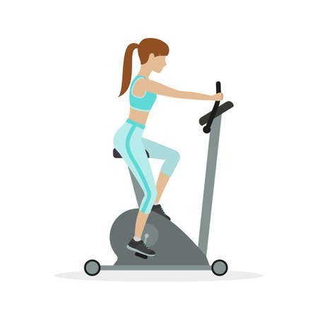 women working out: Woman workout on exercise bike, on a white background. Vector.