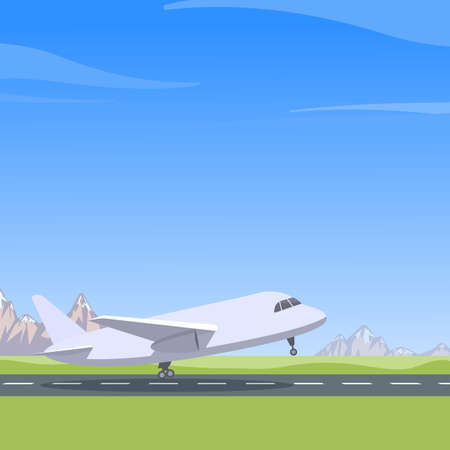 Plane takes off, mountain landscape, blue sky. Aircraft preparing for take-off Vettoriali