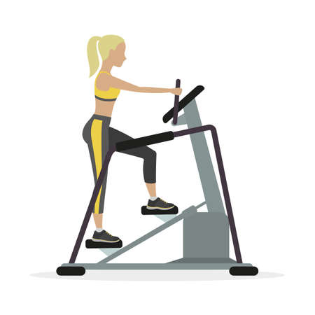 women working out: Woman workout on stepper, on a white background. Vector.