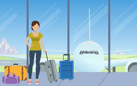 femme valise: Tourisme avec des bagages en attente pour le check-in à l'aéroport. Vecteur.