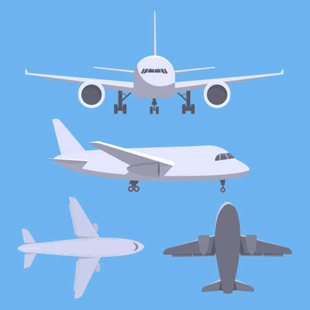 airport cartoon: Collection of planes. Different view of plane - top, side, front, bottom view of plane. Illustration