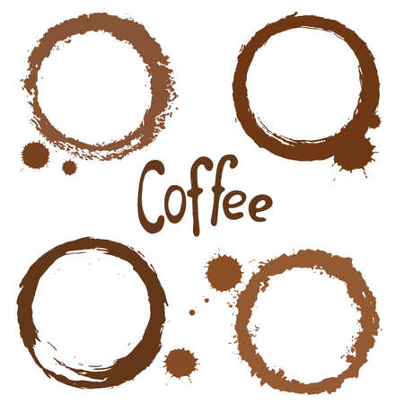 coffee spill: Set of 4 various coffee stains. Vector. Illustration