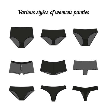 tanga: Various styles of women black panties isolated on white background. Vector.