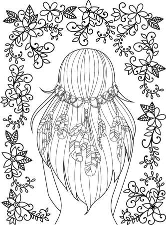 hair feathers: Girl with feathers in her hair and floral pattern, hippie style, line art. Pattern for coloring book for adults. Vector.