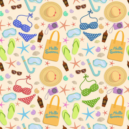 sand background: Summer vacation seamless pattern. Summertime traveling template with beach summer accessories. Vector. Illustration