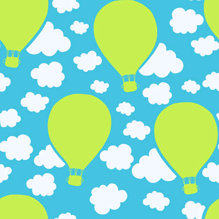 kiddy: Air balloons seamless pattern, kiddy design. Repeating pattern of flying balloons. Vector.