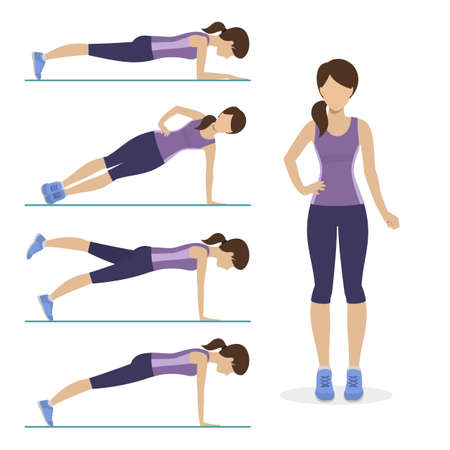 physical training: Set of plank exercise. Girl doing different exercises plank. Physical training for losing weight, reduction in fat mass. Vector.