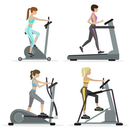Conjunto de muchachas con equipos de cardio de trabajo en el gimnasio. El entrenamiento físico para bajar de peso, reducción de la masa grasa. Vector.