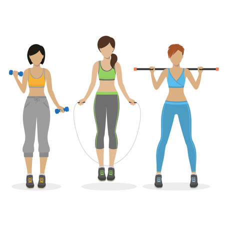 physical training: Set of fitness girls working out at the gym. Physical training for losing weight, reduction in fat mass. Vector.