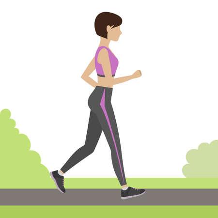 physical training: Jogging girl outdoor. Woman running in the park. Physical training for losing weight, reduction in fat mass. Vector.