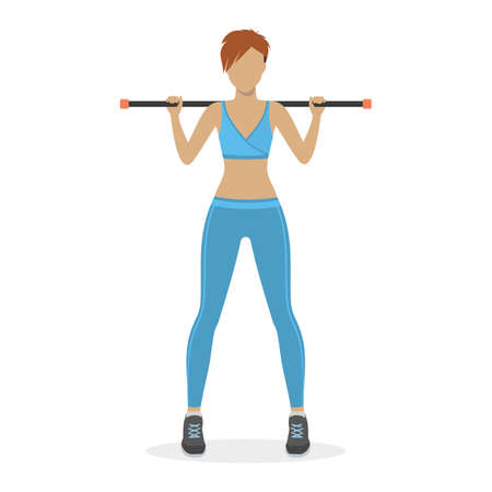 physical training: Girl with a body bar on a white background. Physical training for losing weight, reduction in fat mass. Vector.