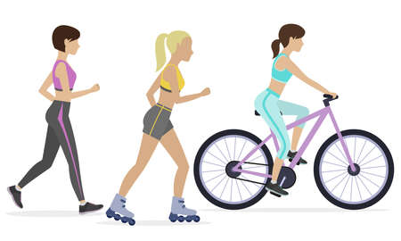 physical training: Set of outdoor workouts. Jogging, roller skating, cycling. Physical training for losing weight, reduction in fat mass. Vector. Illustration