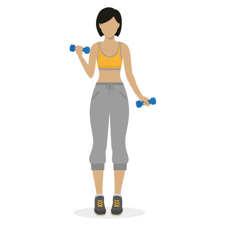 physical training: Fitness girl working out with dumbbells at the gym. Physical training for losing weight, reduction in fat mass. Vector.