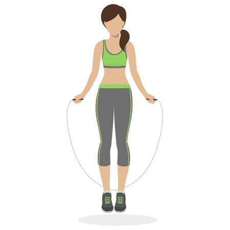 skipping rope: Fitness girl working out with skipping rope at the gym. Physical training for losing weight, reduction in fat mass. Vector. Illustration