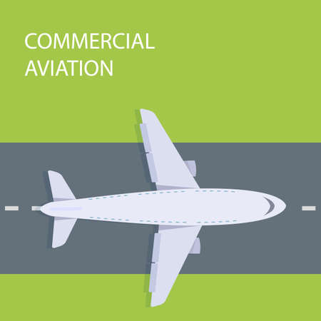 Commercial aviation, plane on the runway top view. Illustration