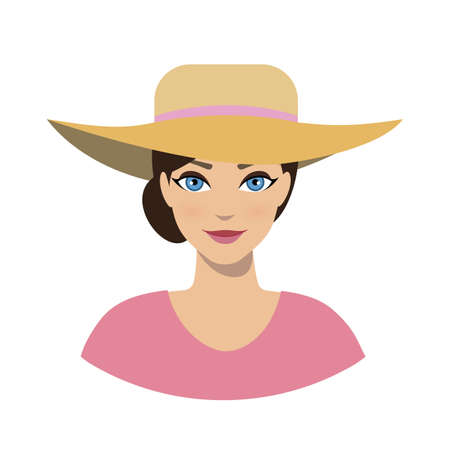 Avatar icon of girl in a sun hat on a white background. Illustration