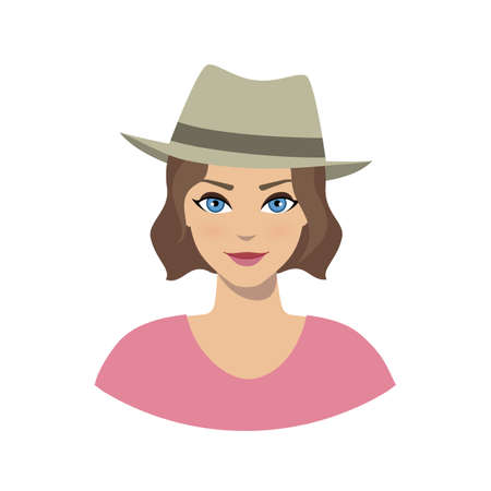 Avatar icon of girl in a fedora hat on a white background.