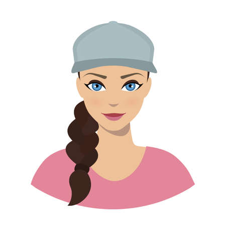 Avatar icon of girl in a baseball cap on a white background.