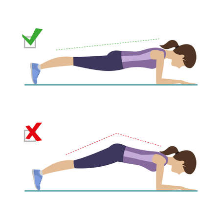 Set of right and wrong elbow plank position. Physical training for losing weight, reduction in fat mass.  イラスト・ベクター素材