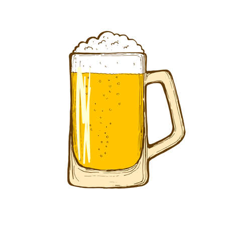 Glass of beer isolated on white background, hand-drawing.