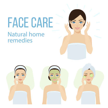 Set of face skin care with natural home remedies. 矢量图像