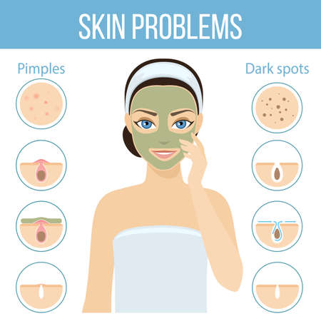 Girl applies cosmetic mask on her face. Skin problems solution, home remedies.