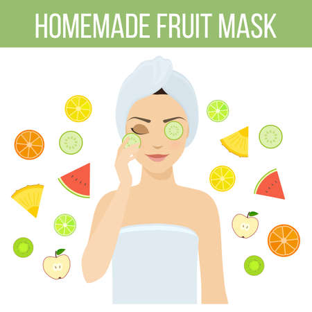 beauty therapist: Girl applies natural homemade fruit mask on her face. Skin problems solution, home remedies.
