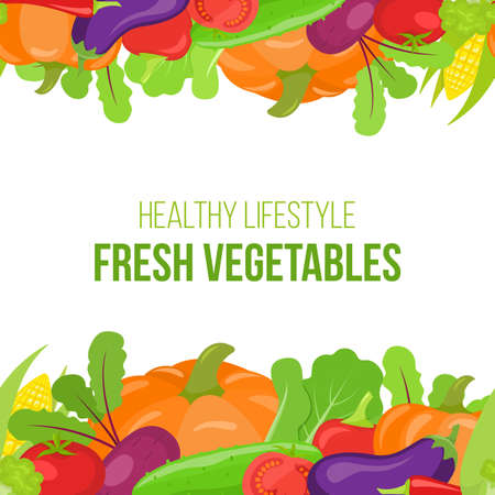 Seamless border of colorful cartoon vegetables on a white background.
