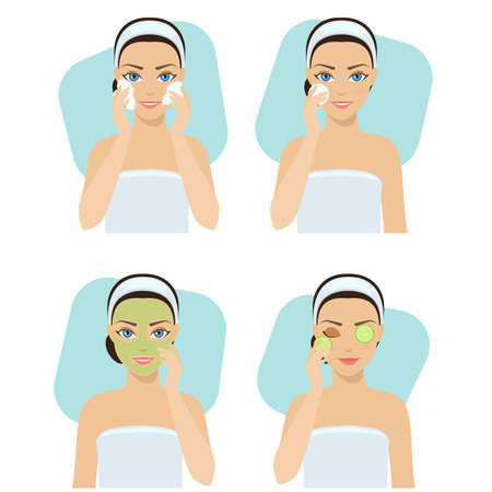 pores: Set of home remedies, skin problems solution. Girl cleans her face with cosmetic.
