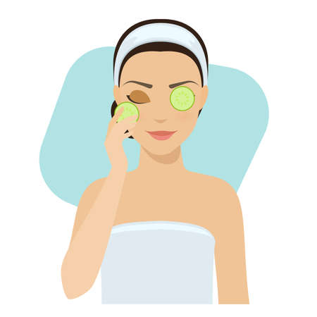 remedies: Girl applies natural cucumber mask on her face. Skin problems solution, home remedies. Illustration
