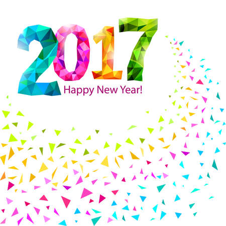 Happy New Year 2017 greeting card with colorful triangle shape multicolor confetti.