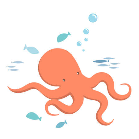 kiddy: Octopus and fishes, kiddy style illustration. Illustration