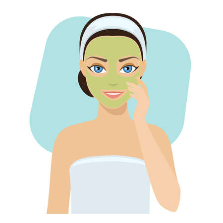 face mask: Girl applies cosmetic mask on her face, home remedies, skin problems solution.stock illustration.