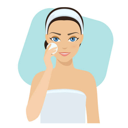 Girl cleans her face with cosmetic lotion, home remedies, skin problems solution. stock illustration.