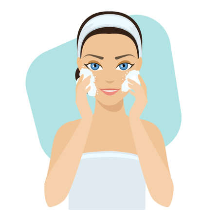 Girl cleans her face with cosmetic soap, home remedies, skin problems solution.stock illustration. Vettoriali