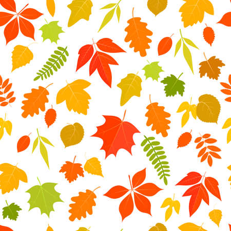 Seamless pattern of colorful cartoon autumn leaves on a white background. stock illustration.