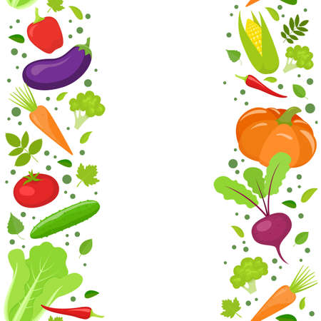Vertical seamless borders of colorful vegetables. stock illustration.