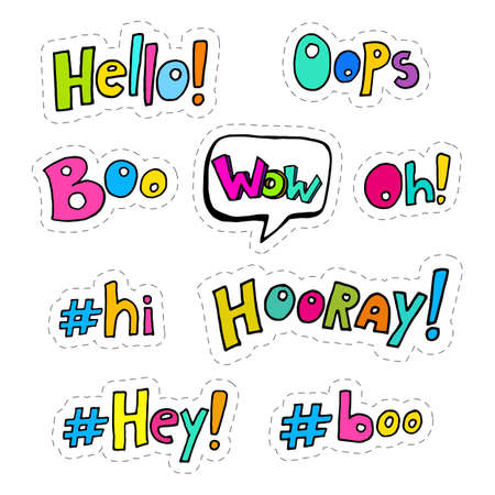 hooray: Set of hand drawing patches with interjections - oops, wow, hooray, boo, hey, hi, oh, hello stock illustration