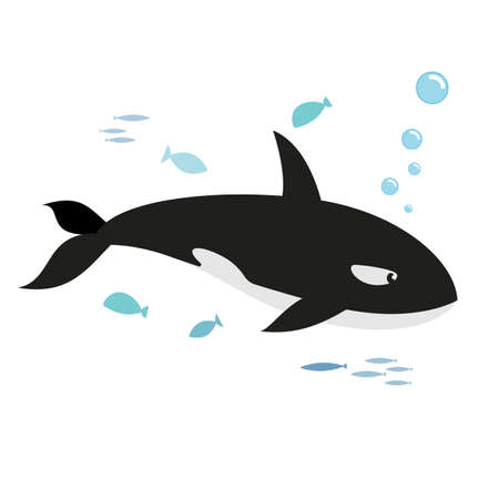 Orca and fishes, isolated on white background. Kiddy style illustration. Vector.
