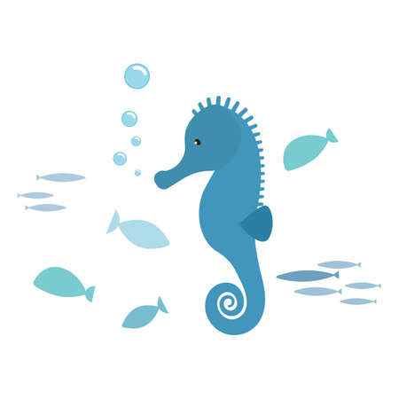 Seahorse and fishes, isolated on white background. Kiddy style illustration. Vector. Ilustração